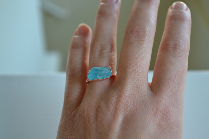 raw apatite rings (india) electroformed in shiny copper or with added patina (sizes 6, 6, 7-1/2 & 8)